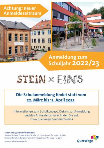 Plakat Schulanmeldung SteinMalEins zum SJ 22/23